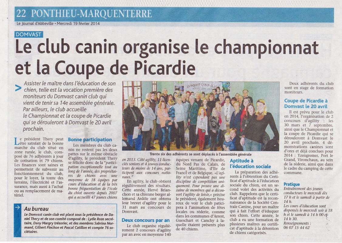 Article du Journal d'Abbeville 19 02 2014